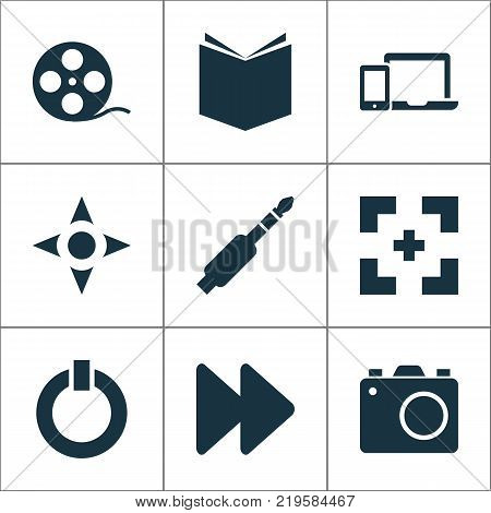 Media icons set with next, power, devices and other arrow elements. Isolated vector illustration media icons.