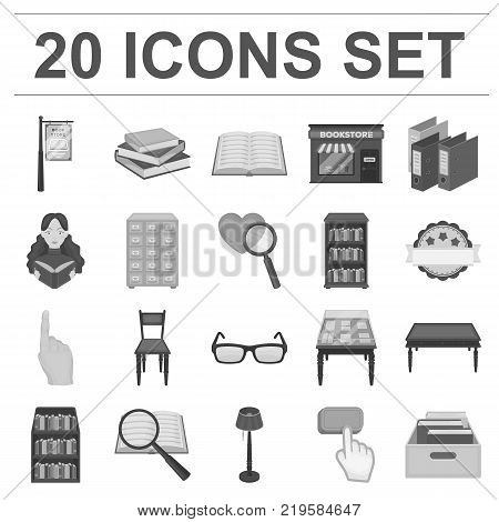 Library and bookstore monochrome icons in set collection for design. Books and furnishings vector symbol stock  illustration.