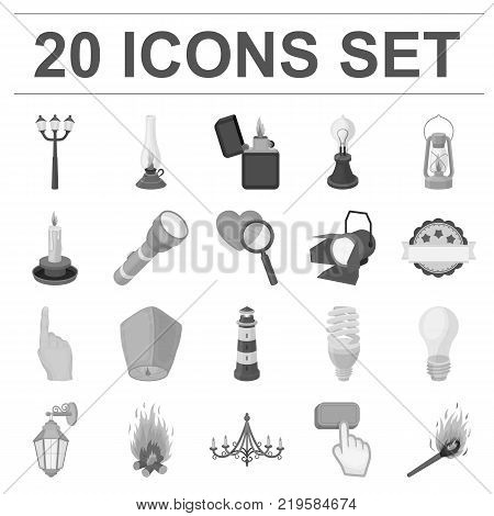 Light source monochrome icons in set collection for design. Light and equipment vector symbol stock  illustration.