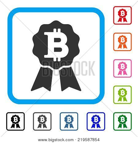 Bitcoin Certificate Seal icon. Flat grey iconic symbol in a blue rounded rectangular frame. Black, gray, green, blue, red, orange color versions of Bitcoin Certificate Seal vector.