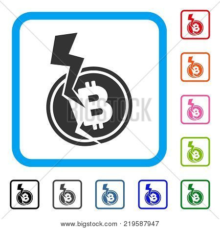 Bitcoin Crash Lightning icon. Flat gray iconic symbol in a blue rounded frame. Black, gray, green, blue, red, orange color versions of Bitcoin Crash Lightning vector.
