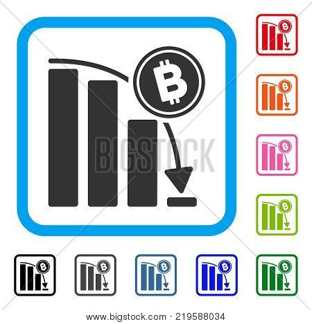 Bitcoin Epic Fail Chart icon. Flat gray iconic symbol inside a blue rounded squared frame. Black, gray, green, blue, red, orange color additional versions of Bitcoin Epic Fail Chart vector.