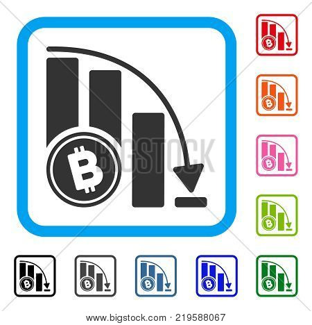 Bitcoin Falling Acceleration Chart icon. Flat grey iconic symbol inside a blue rounded squared frame. Black, gray, green, blue, red,