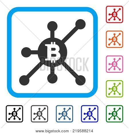 Bitcoin Full Node icon. Flat gray pictogram symbol in a blue rounded square. Black, gray, green, blue, red, orange color versions of Bitcoin Full Node vector. Designed for web and app user interface.
