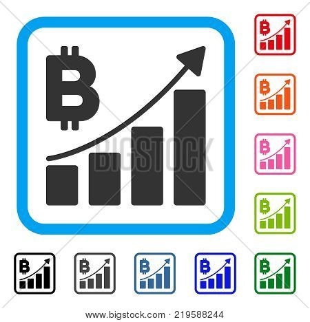 Bitcoin Growth Trend icon. Flat gray pictogram symbol inside a blue rounded rectangular frame. Black, gray, green, blue, red, orange color versions of Bitcoin Growth Trend vector.