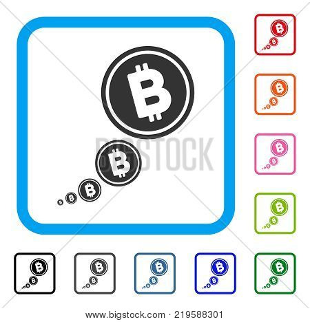 Bitcoin Inflation icon. Flat grey iconic symbol in a blue rounded frame. Black, gray, green, blue, red, orange color versions of Bitcoin Inflation vector. Designed for web and app UI.