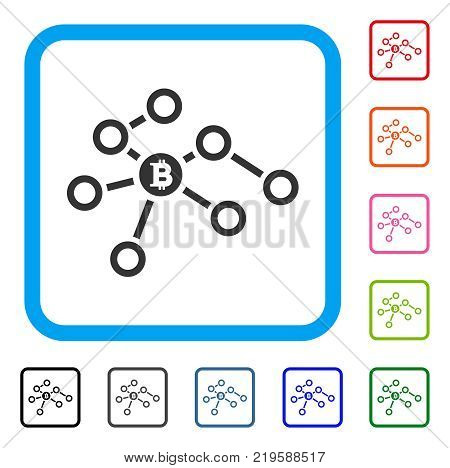 Bitcoin Network Nodes icon. Flat gray iconic symbol in a blue rounded rectangle. Black, gray, green, blue, red, orange color versions of Bitcoin Network Nodes vector.