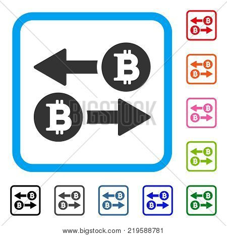 Bitcoin Transaction Arrows icon. Flat gray pictogram symbol in a blue rounded squared frame. Black, gray, green, blue, red, orange color versions of Bitcoin Transaction Arrows vector.