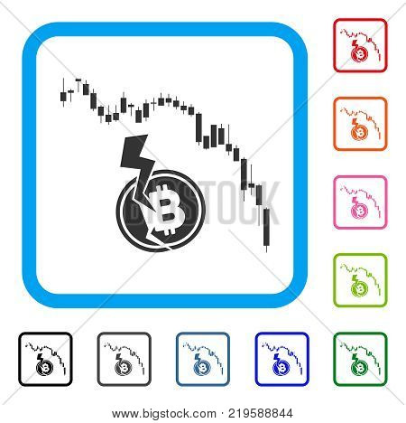 Candlestick Chart Bitcoin Crash icon. Flat grey iconic symbol in a blue rounded frame. Black, gray, green, blue, red, orange color versions of Candlestick Chart Bitcoin Crash vector.