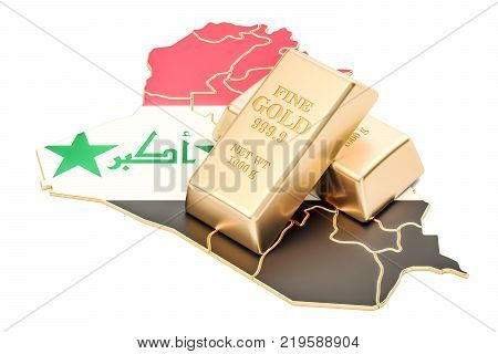 Golden reserves of Iraq concept 3D rendering isolated on white background