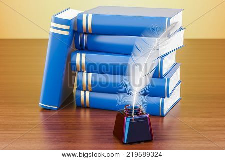 Stack of books with feather and ink bottle on the wooden table 3D rendering