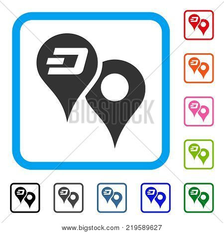 Dashcoin Map Pointers icon. Flat grey iconic symbol in a blue rounded rectangle. Black, gray, green, blue, red, orange color versions of Dashcoin Map Pointers vector.