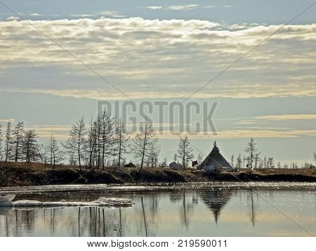 Yurt of indigenous people of the north of Yamal. Wigwam from reindeer skins