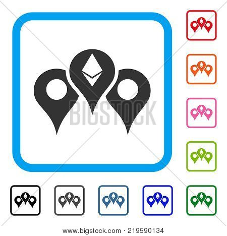 Ethereum Map Pointers icon. Flat grey pictogram symbol in a blue rounded rectangle. Black, gray, green, blue, red, orange color versions of Ethereum Map Pointers vector. Designed for web and app UI.