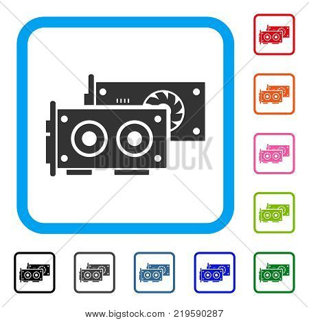 Gpu Cards icon. Flat grey pictogram symbol in a blue rounded rectangle. Black, gray, green, blue, red, orange color additional versions of Gpu Cards vector. Designed for web and software interfaces.