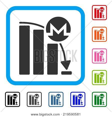 Monero Falling Acceleration Chart icon. Flat grey pictogram symbol in a blue rounded squared frame. Black, gray, green, blue, red, poster