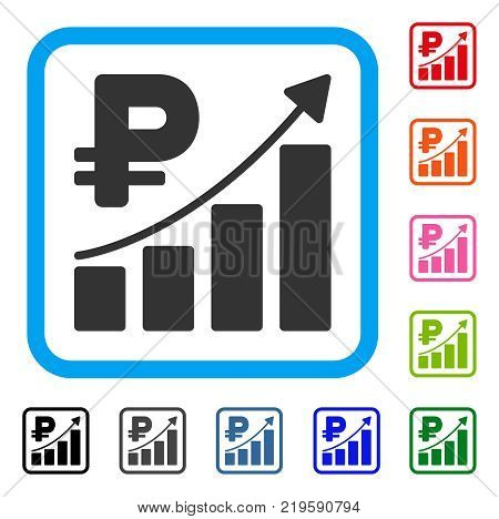 Rouble Growth Trend icon. Flat gray iconic symbol in a blue rounded squared frame. Black, gray, green, blue, red, orange color versions of Rouble Growth Trend vector.