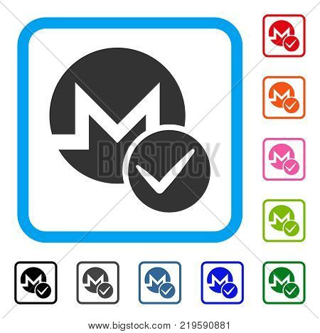 Valid Monero icon. Flat grey iconic symbol inside a blue rounded squared frame. Black, gray, green, blue, red, orange color additional versions of Valid Monero vector.
