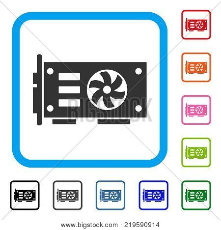 Video Graphics Gpu Card icon. Flat gray pictogram symbol in a blue rounded square. Black, gray, green, blue, red, orange color versions of Video Graphics Gpu Card vector.
