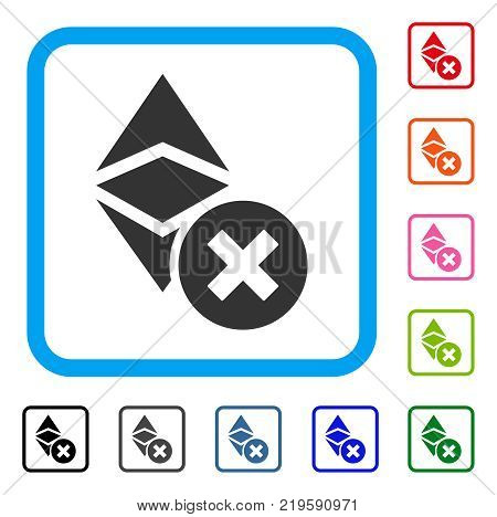 Wrong Ethereum Classic icon. Flat gray pictogram symbol inside a blue rounded rectangle. Black, gray, green, blue, red, orange color versions of Wrong Ethereum Classic vector.
