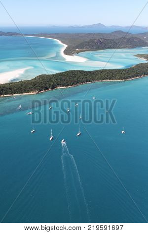 An Aerial view of Hill Inlet and Whitehaven beach, Queensland, Australia