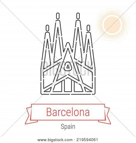 Barcelona, Spain Vector Line Icon with Red Ribbon Isolated on White. Barcelona Landmark - Emblem - Print - Label - Symbol. Sagrada Familia Pictogram. World Cities Collection.