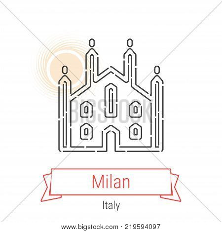 Milan, Italy Vector Line Icon with Red Ribbon Isolated on White. Milan Landmark - Emblem - Print - Label - Symbol. Milan Cathedral Pictogram. World Cities Collection.
