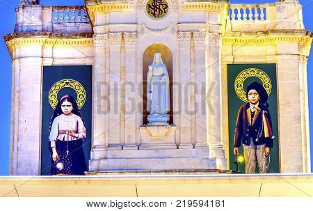 FATIMA, PORTUGAL - SEPTEMBER 17, 2017 100th Celebration Mary's Appearance Basilica of Lady of Rosary Bell Tower Fatima Portugal. Church created on site where three Portuguese Shepherd children saw Virgin Mary of the Rosary. Basilica created in 1953.