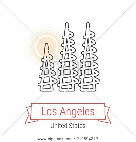Los Angeles, United States Vector Line Icon with Red Ribbon Isolated on White. Los Angeles Landmark - Emblem - Print - Label - Symbol. LA Watts Towers Pictogram. World Cities Collection.