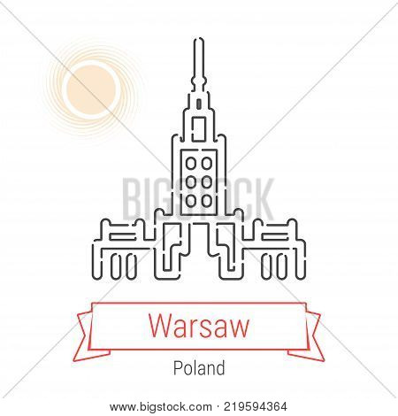 Warsaw, Poland Vector Line Icon with Red Ribbon Isolated on White. Warsaw Landmark - Emblem - Print - Label - Symbol. House of Culture And Science Pictogram. World Cities Collection.
