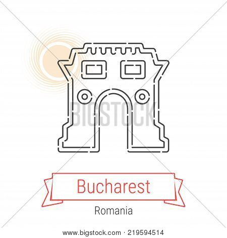 Bucharest, Romania Vector Line Icon with Red Ribbon Isolated on White. Bucharest Landmark - Emblem - Print - Label - Symbol. Bucharest Triumphal Arch Pictogram. World Cities Collection.