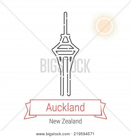 Auckland, New Zealand Vector Line Icon with Red Ribbon Isolated on White. Auckland Landmark - Emblem - Print - Label - Symbol. Auckland TV Tower Pictogram. World Cities Collection.