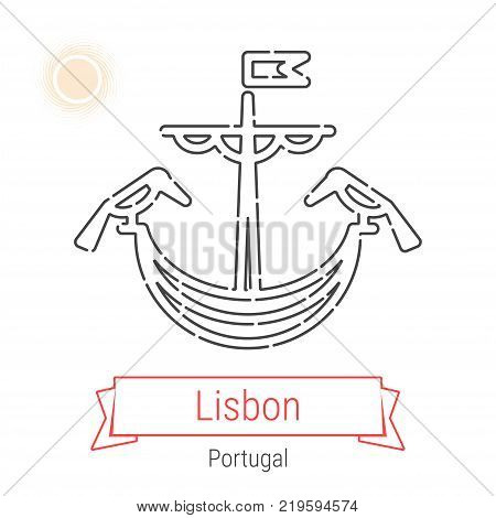 Lisbon, Portugal Vector Line Icon with Red Ribbon Isolated on White. Lisbon Landmark - Emblem - Print - Label - Symbol. Lisbon Coat of Arms Pictogram. World Cities Collection.