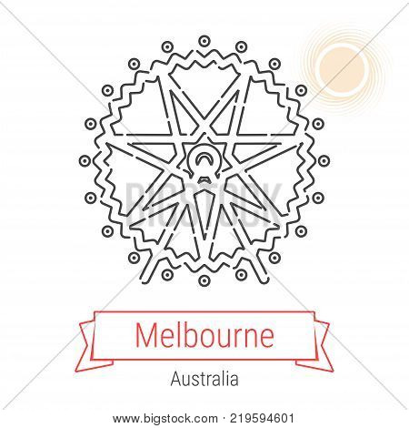 Melbourne, Australia Vector Line Icon with Red Ribbon Isolated on White. Melbourne Landmark - Emblem - Print - Label - Symbol. Melbourne Ferris Wheel Pictogram. World Cities Collection.