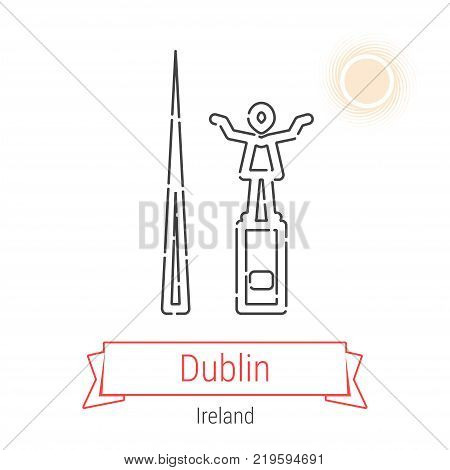 Dublin, Ireland Vector Line Icon with Red Ribbon Isolated on White. Dublin Landmark - Emblem - Print - Label - Symbol. Spire of Dublin and Statue of Jim Larkin Pictogram. World Cities Collection.