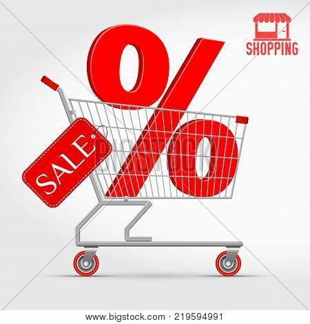 Realistic Vector Supermarket Cart with a Big Sale Percentage 3D Sign. Shopping, Big Discount Concept. Red Discount Tag. Shopping Icon.