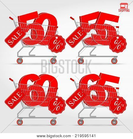 Realistic Vector Supermarket Cart with 3D Sale Percentage Numbers. Shopping, Discount Concept. 50 - 55 - 60 - 65 Percent Discount.