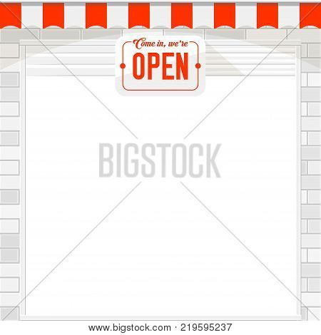 White Shutter Door or Roller Door with Open Sign. White Brick Wall and red and white Store Awning. Open Shop vector template.