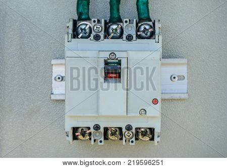 closeup photo of electric breaker, industrial used