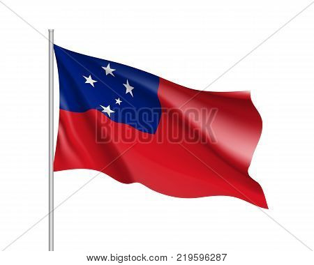 Waving flag of Samoa. Illustration of Oceania country flag on flagpole. Vector 3d icon isolated on white background