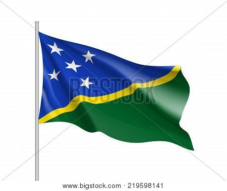 Waving flag of Solomon islands. Illustration of Oceania country flag on flagpole. Vector 3d icon isolated on white background