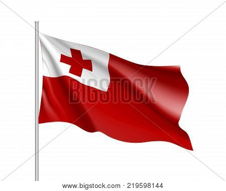 Waving flag of Tongai slands. Illustration of Oceania country flag on flagpole. Vector 3d icon isolated on white background