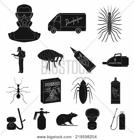 Pest, poison, personnel and equipment black icons in set collection for design. Pest control service vector symbol stock illustration.