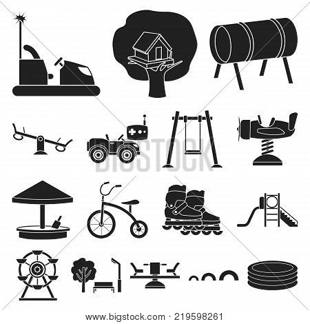 Playground, entertainment black icons in set collection for design. Attraction and equipment vector symbol stock  illustration.