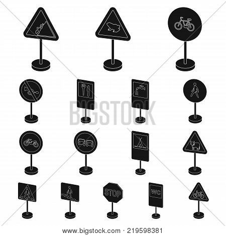 Different types of road signs black icons in set collection for design. Warning and prohibition signs vector symbol stock  illustration.