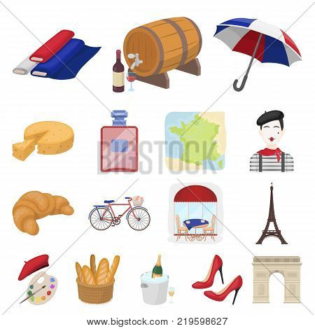 Country France cartoon icons in set collection for design. France and landmark vector symbol stock  illustration.