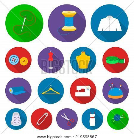 Atelier and sewing flat icons in set collection for design. Equipment and tools for sewing vector symbol stock  illustration.
