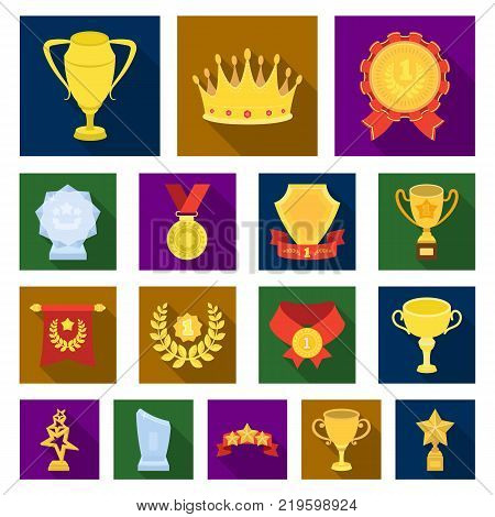 Awards and trophies flat icons in set collection for design.Reward and achievement vector symbol stock  illustration.