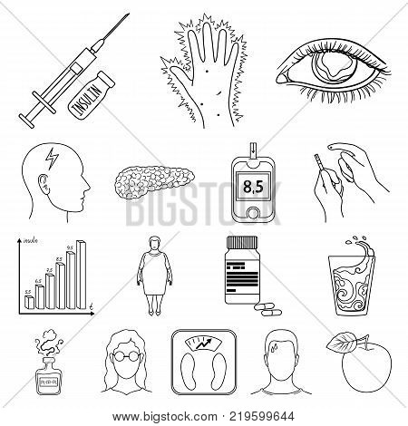 Diabetes outline icons in set collection for design. Treatment of diabetes vector symbol stock  illustration.