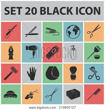 Hairdresser and tools black icons in set collection for design.Profession hairdresser vector symbol stock  illustration.
